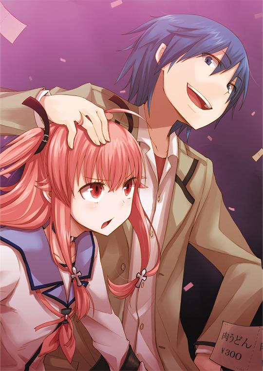 Tags: Anime, Ayakura Juu, Angel Beats!, Hinata Hideki, Yui (Angel Beats!), Caressing, Mobile Wallpaper