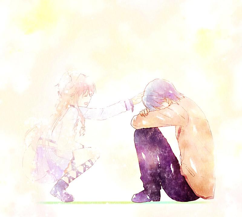 Angel Beats   Yui  Angel Beats    Hinata Hideki  Sad  CaressingYui Angel Beats Sad
