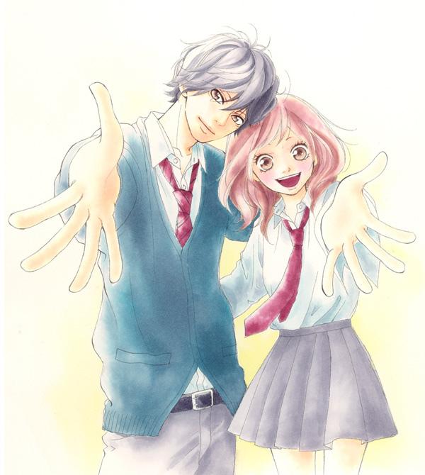 Tags: Anime, Sakisaka Io, Ao Haru Ride, Yoshioka Futaba, Mabuchi Kou, Official Art, Blue Spring Ride