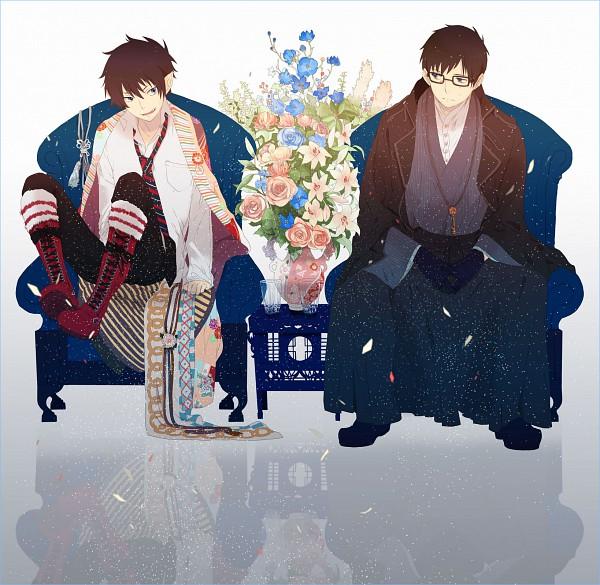 Tags: Anime, Okazaki Oka, Ao no Exorcist, Okumura Yukio, Okumura Rin, Glass, Blue Flower