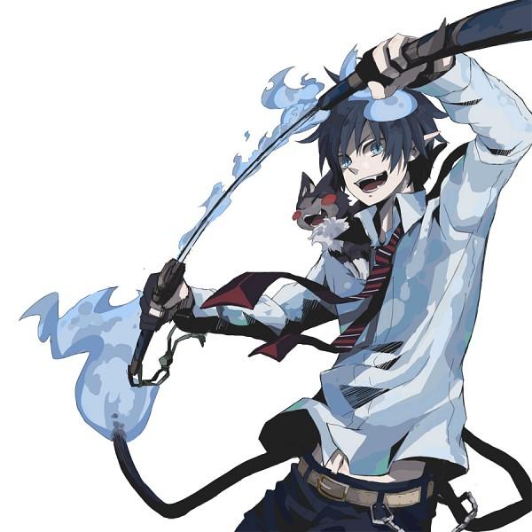 Tags: Anime, Pixiv Id 537049, Ao no Exorcist, Okumura Rin, Kuro (Ao no Exorcist), Fire