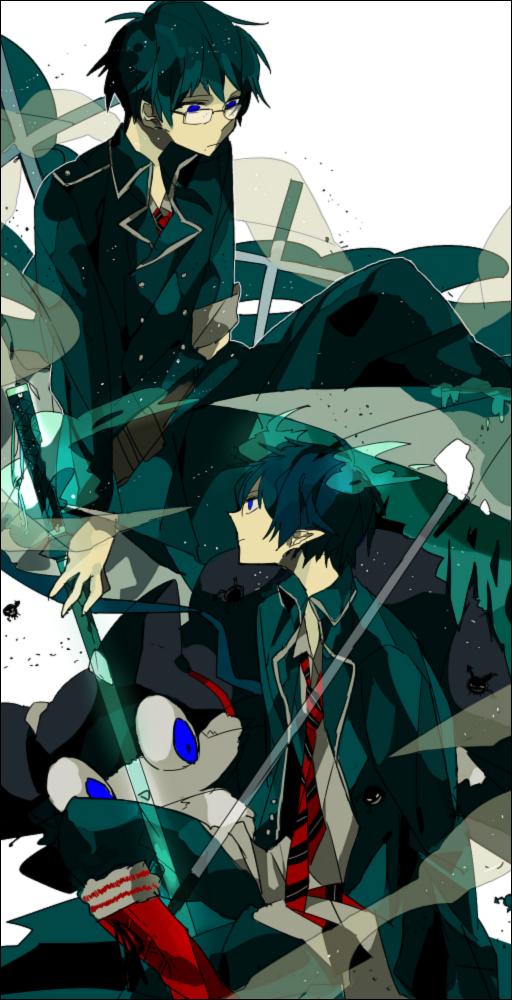 Tags: Anime, Akina422, Ao no Exorcist, Kuro (Ao no Exorcist), Okumura Yukio, Okumura Rin, Pixiv, Fanart, Blue Exorcist