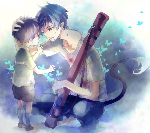 Tags: Anime, Shukichi, Ao no Exorcist, Okumura Rin, Okumura Yukio, Pixiv, PNG Conversion, Fanart, Blue Exorcist