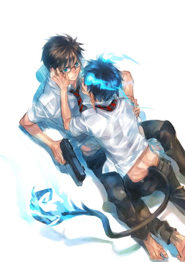 Tags: Anime, Egosun, Ao no Exorcist, Okumura Yukio, Okumura Rin, Mobile Wallpaper, deviantART, YukiRin (Pairing), Blue Exorcist