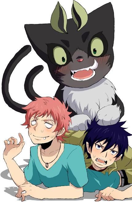 Tags: Anime, Pixiv Id 1581203, Ao no Exorcist, Okumura Rin, Kuro (Ao no Exorcist), Shima Renzou, Mobile Wallpaper, Blue Exorcist