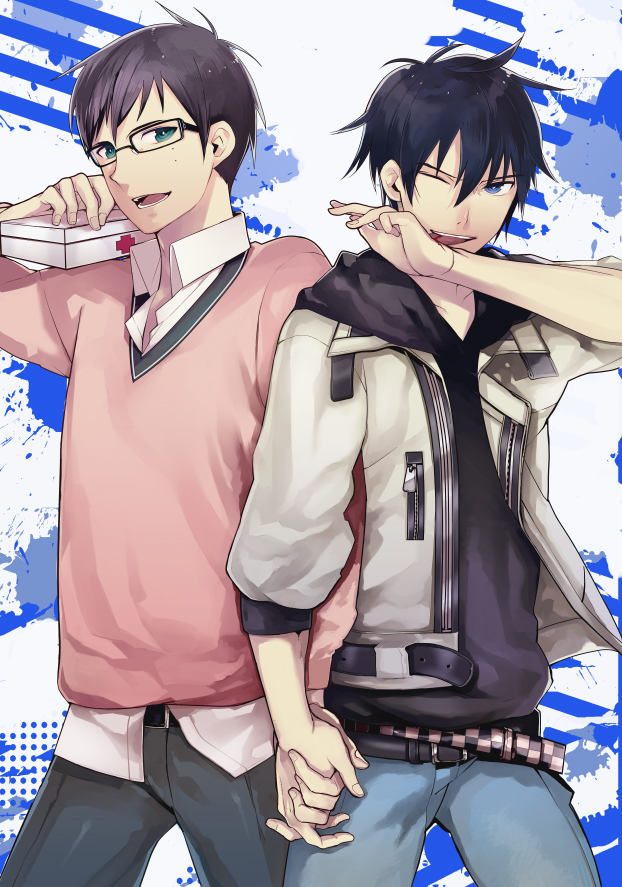 Tags: Anime, Pixiv Id 1352740, Ao no Exorcist, Okumura Rin, Okumura Yukio, Mobile Wallpaper, Pixiv, PNG Conversion, Fanart, Blue Exorcist