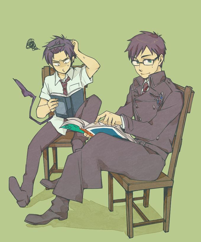 Tags: Anime, Pixiv Id 424593, Ao no Exorcist, Okumura Yukio, Okumura Rin, Pixiv, Fanart, Blue Exorcist