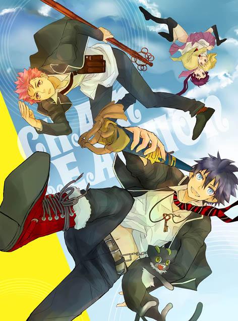 Tags: Anime, Pixiv Id 1410076, Ao no Exorcist, Kamiki Izumo, Moriyama Shiemi, Okumura Rin, Kuro (Ao no Exorcist), Shima Renzou, Fanart, Pixiv, Blue Exorcist
