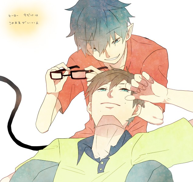 Tags: Anime, Ws (Pixiv), Ao no Exorcist, Okumura Yukio, Okumura Rin, Glasses Off