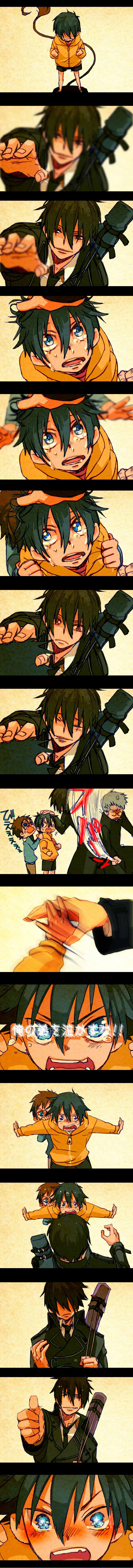 Tags: Anime, The Miyama-Uguisu Mansion Incident, Ao no Exorcist, Okumura Yukio, Night (The Miyama-Uguisu Mansion Incident), Okumura Rin, Fujimoto Shirou, Hitting, Blue Exorcist