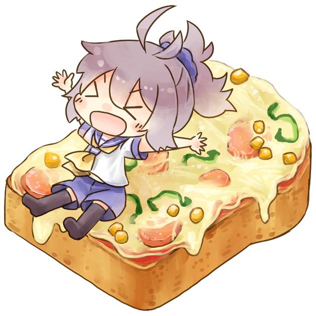 Tags: Anime, Hinata Yuu, Kantai Collection, Aoba (Kantai Collection), Toast, >O<, Cheering, Corn, Pixiv