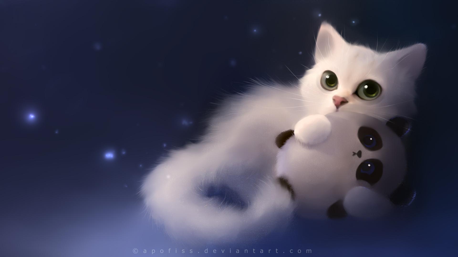 Tags Anime Apofiss White Cat Stuffed Panda DeviantART HD Wallpaper