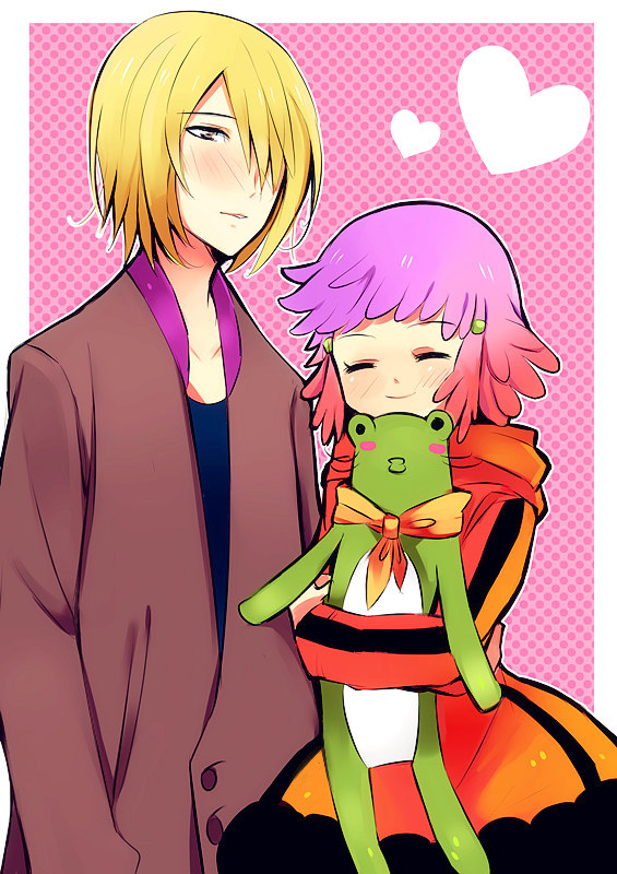 Tags: Anime, Kusa Yusai, Aquarion EVOL, Yunoha Thrul, Muso Jin, Pink Background, Stuffed Frog