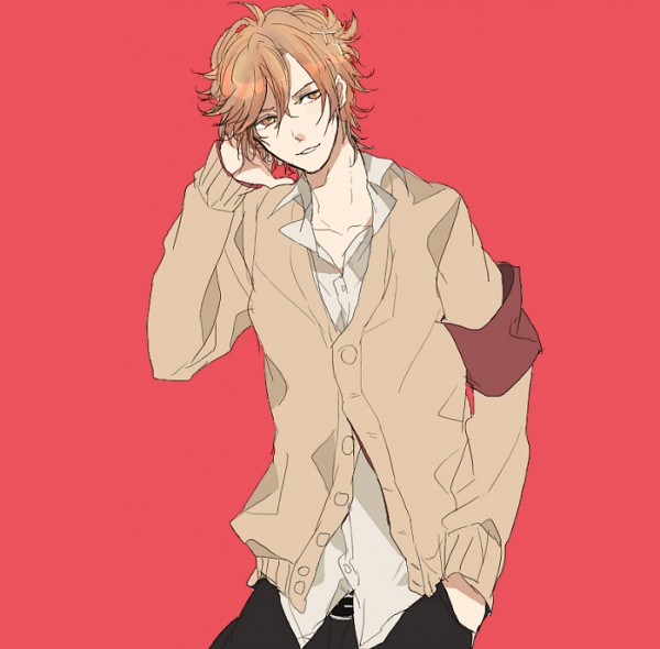 Tags: Anime, Pixiv Id 857967, BROTHERS CONFLICT, Asahina Futo, Red Background, Sweater, Armband