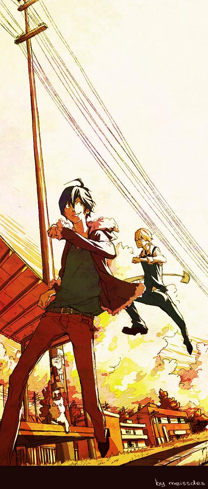 Tags: Anime, Meissdes, DURARARA!!, Bakuman。, Heiwajima Shizuo, Takagi Akito, Orihara Izaya, Mashiro Moritaka, Power Lines, Shovel, Bartender, Heiwajima Shizuo (Cosplay), Orihara Izaya (Cosplay)