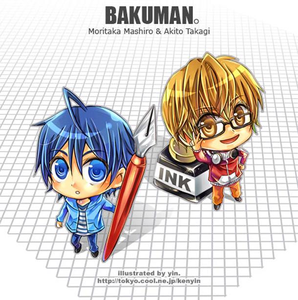 Tags: Anime, Bakuman。, Takagi Akito, Mashiro Moritaka, Ink, Ashirogi Muto