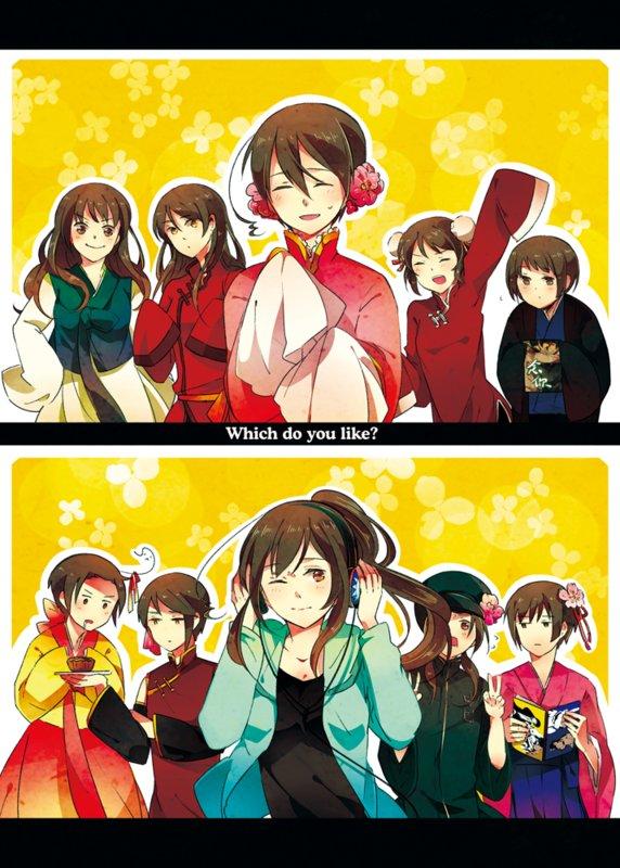 Tags: Anime, Kamitsuki, Axis Powers: Hetalia, South Korea (Female), China, Hong Kong (Female), Hong Kong, Taiwan (Male), Japan, Japan (Female), South Korea, China (Female), Taiwan
