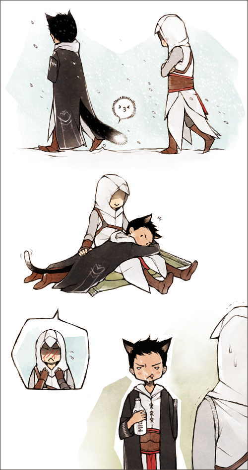 Tags: Anime, Lanimalu, Assassin's Creed, Malik Al-Sayf, Altair Ibn La-Ahad, Milk, Hand on Butt, Fanart