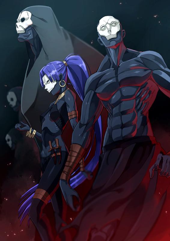 Tags: Anime, IsII, Fate/zero, Assassin (Fate/zero), Unnaturally Black Skin, Mobile Wallpaper, Pixiv, Fanart