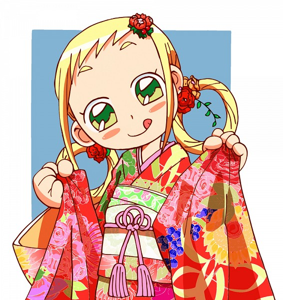 Tags: Anime, Ojamajo DoReMi, Asuka Momoko, Blue Background, Floral Print, Hair Rings, :P