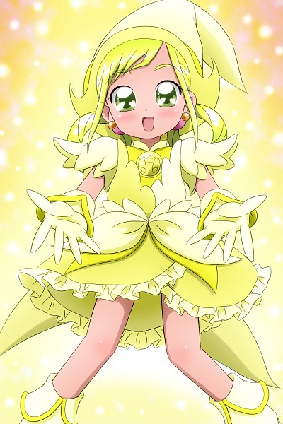 Tags: Anime, Ojamajo DoReMi, Asuka Momoko, Yellow Outfit, Kiyu, Hair Rings, Shiny Backround
