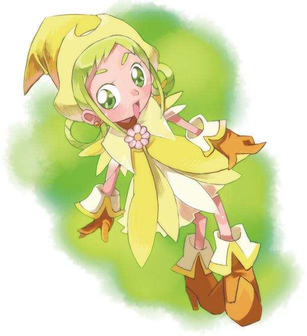 Tags: Anime, Ojamajo DoReMi, Asuka Momoko, Yellow Outfit, Hair Rings, Edamame, Rhythm Tap