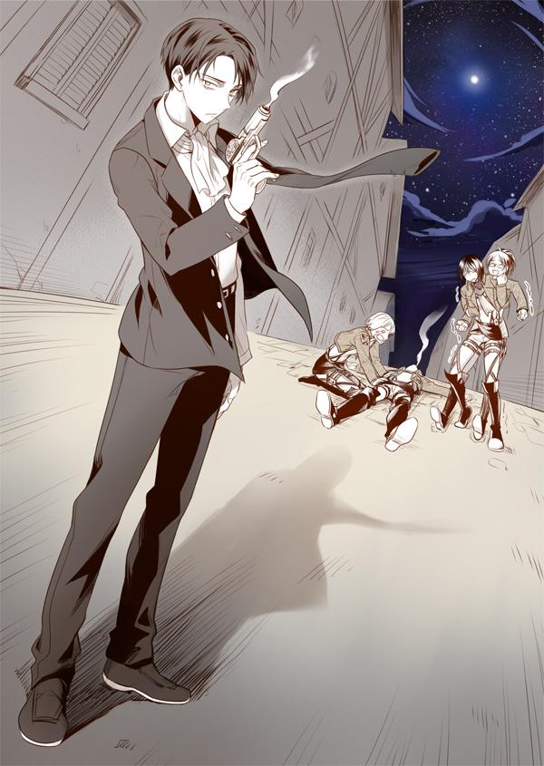 Tags: Anime, Rnia, Attack on Titan, Mikasa Ackerman, Hange Zoë, Armin Arlert, Eren Jaeger, Levi Ackerman, Mobile Wallpaper, Pixiv