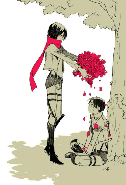 Tags: Anime, Ron (Lovechro), Attack on Titan, Eren Jaeger, Mikasa Ackerman, Sitting On Grass, Mobile Wallpaper, Fanart From Pixiv, Pixiv, Fanart