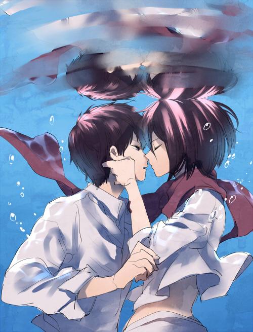 Tags: Anime, Pixiv Id 7191585, Attack on Titan, Mikasa Ackerman, Eren Jaeger, Water Reflection, Pixiv, Fanart, Fanart From Pixiv, EreMika