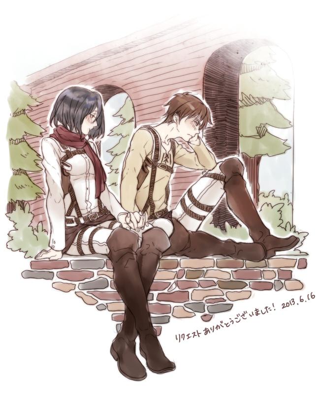 Tags: Anime, Chiaki (Pixiv4784713), Attack on Titan, Mikasa Ackerman, Eren Jaeger, Fanart, Fanart From Pixiv, Translation Request, Pixiv, EreMika