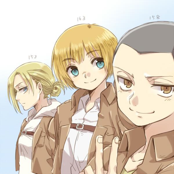 Tags: Anime, Tani (Pixiv 446857), Attack on Titan, Conny Springer, Armin Arlert, Annie Leonhardt, Height Chart, Pixiv