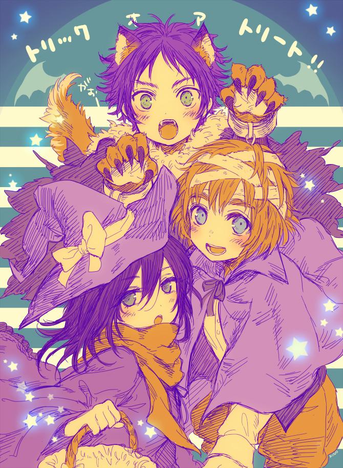 Tags: Anime, Pixiv Id 2128956, Attack on Titan, Eren Jaeger, Mikasa Ackerman, Armin Arlert, Pageboy Haircut