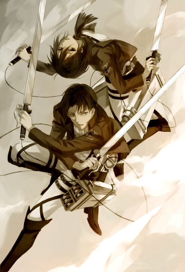 Tags: Anime, Mg (Pixiv4935063), Attack on Titan, Levi Ackerman, Mikasa Ackerman, Mobile Wallpaper, Fanart, Tumblr