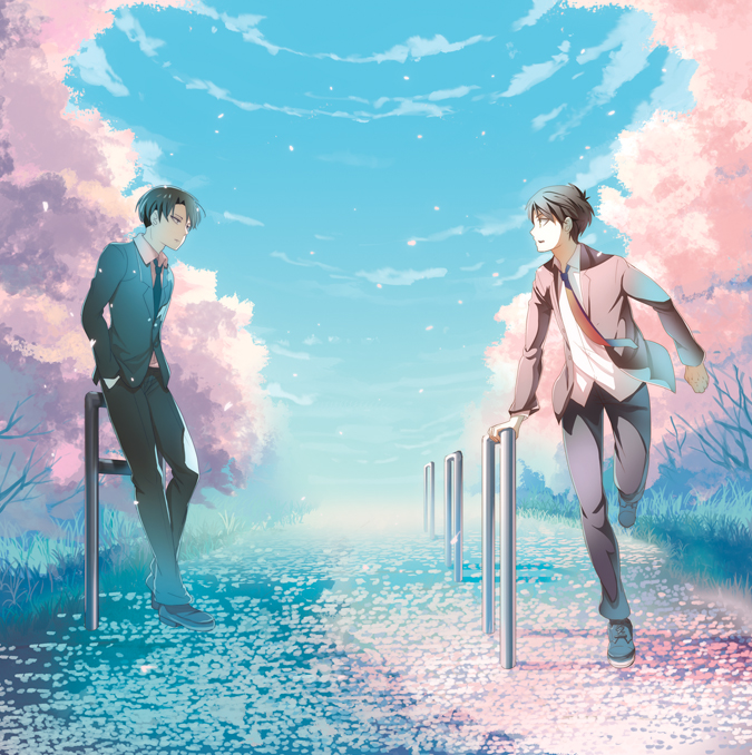 Tags: Anime, Pixiv Id 6386242, Attack on Titan, Eren Jaeger, Levi Ackerman, Spring, Rush Over, Waiting, Pixiv, Fanart, Fanart From Pixiv, EreRi