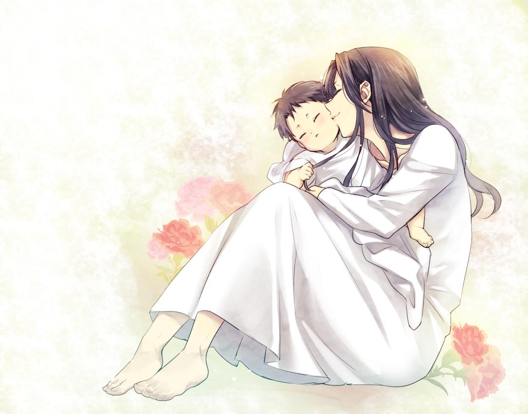 Картинки мамы с сыном аниме