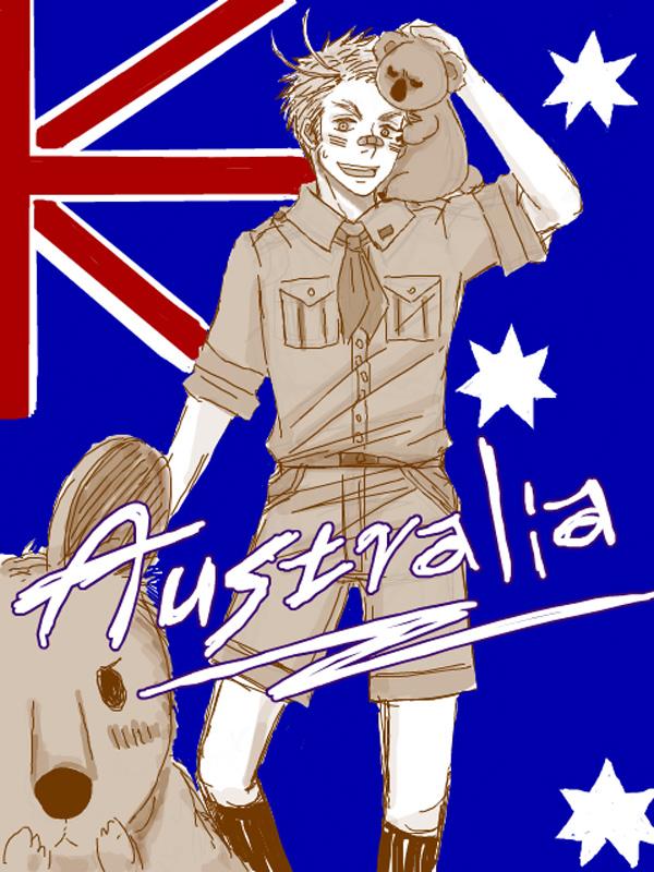 Tags: Anime, Axis Powers: Hetalia, Australia, Kangaroo, Flag Background, Koala, Artist Request, Oceania