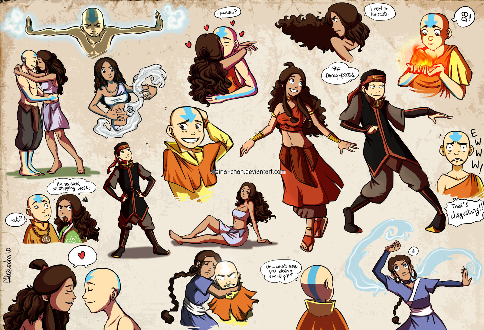 Tags anime aleccha avatar the last airbender aang katara