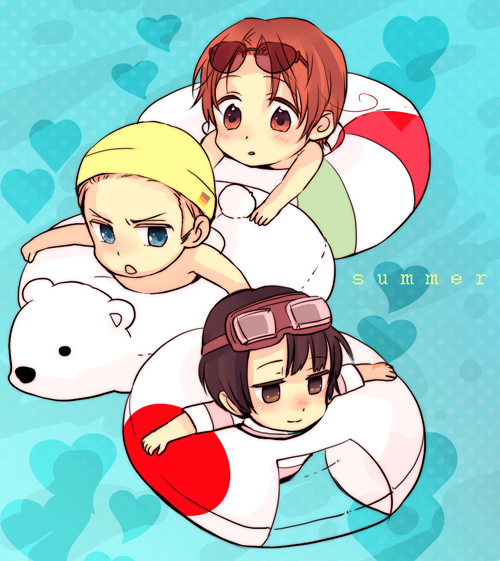 Tags: Anime, Pixiv Id 261785, Axis Powers: Hetalia, Germany, North Italy, Japan, Knut, Swimming, Snorkel, Flag Print, Fanart From Pixiv, Pixiv, Fanart
