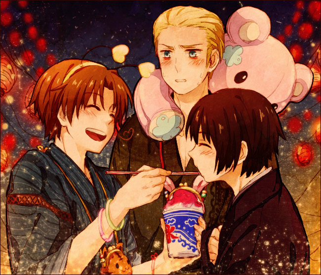 Tags: Anime, Shou G, Axis Powers: Hetalia, North Italy, Japan, Germany, Shaved Ice, Pixiv, Fanart, Axis Power Countries, Asian Countries, Mediterranean Countries