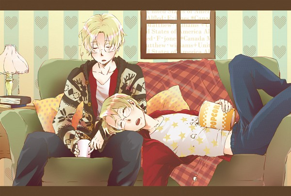 Tags: Anime, Pixiv Id 792397, Axis Powers: Hetalia, Canada, United States, Pillow, Blanket