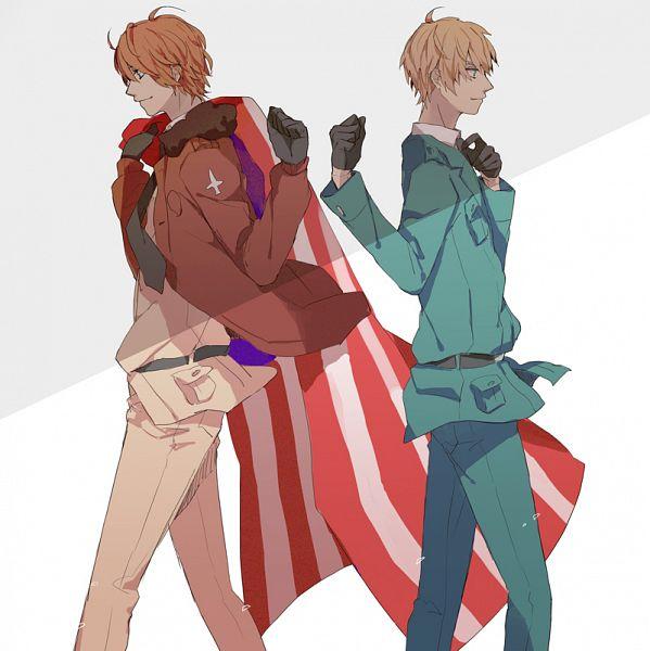 Tags: Anime, Gomi Chiri, Axis Powers: Hetalia, United Kingdom, United States, Back to Back, Country Flag