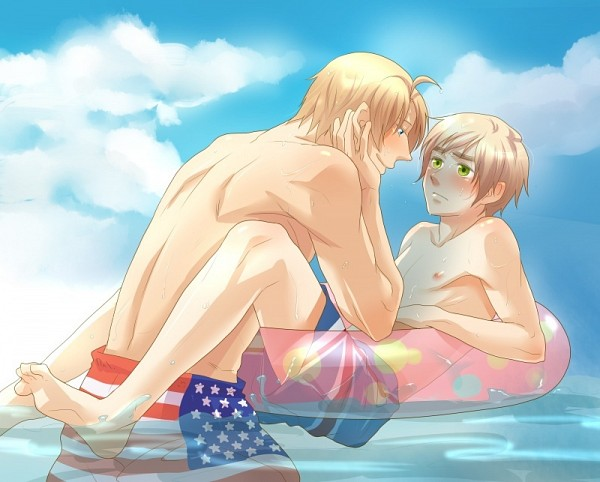 Tags: Anime, Pixiv Id 326697, Axis Powers: Hetalia, United Kingdom, United States, Bend Over, Flag
