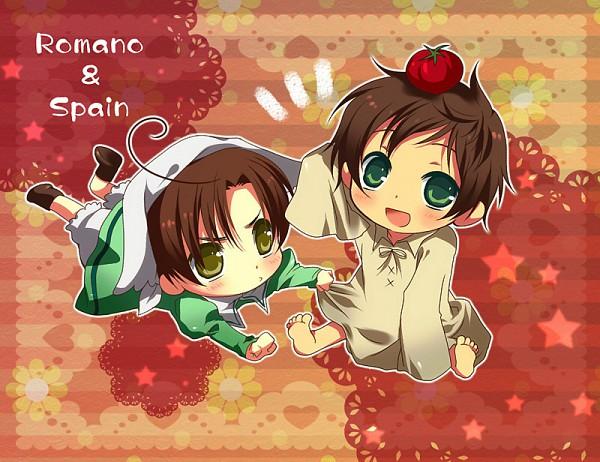 Tags: Anime, Beniko (Pixiv950883), Axis Powers: Hetalia, Chibimano, South Italy, Spain, Tomato