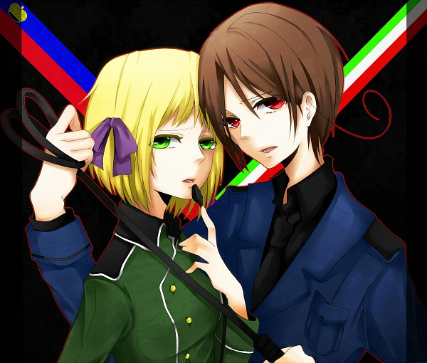 Tags: Anime, Zaki, Axis Powers: Hetalia, North Italy, Liechtenstein, Flag, Flag Background