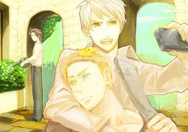 Tags: Anime, Pixiv Id 54654, Axis Powers: Hetalia, Austria, Germany, Gilbird, Prussia