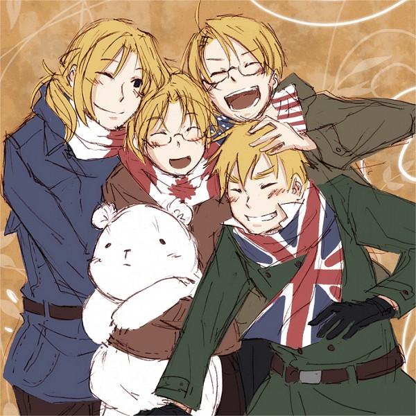 Tags: Anime, Axis Powers: Hetalia, France, Kumajirou, Canada, United Kingdom, United States