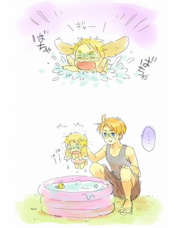 Tags: Anime, Shomi Kigen, Axis Powers: Hetalia, United Kingdom, United States, Drown, Rubber Duck, Wading Pool, Pixiv, Comic, Allied Forces