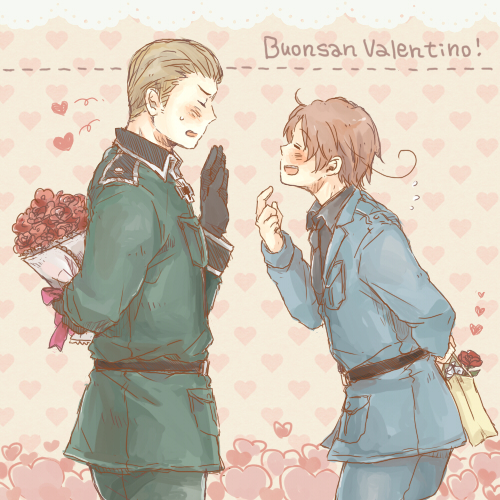 Tags: Anime, Pixiv Id 2604025, Axis Powers: Hetalia, Germany, North Italy, Italian Text, Iron Cross, Fanart, Pixiv, Germanic Countries, Mediterranean Countries, Axis Power Countries