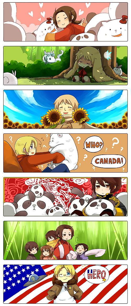 Tags: Anime, Ryo-hakkai, Axis Powers: Hetalia, China, Canada, Hong Kong, South Korea, United Kingdom, Japan, Shinatty-chan, United States, Kumajirou, Taiwan
