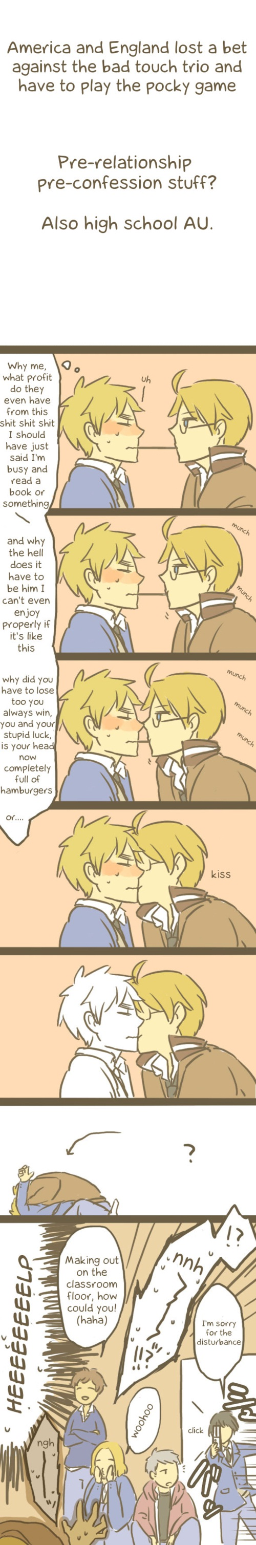 Tags: Anime, Pixiv Id 2211140, Axis Powers: Hetalia, United States, Prussia, France, Spain, Japan, United Kingdom, Yaoi Fan, Pocky Game, Gakuen Hetalia